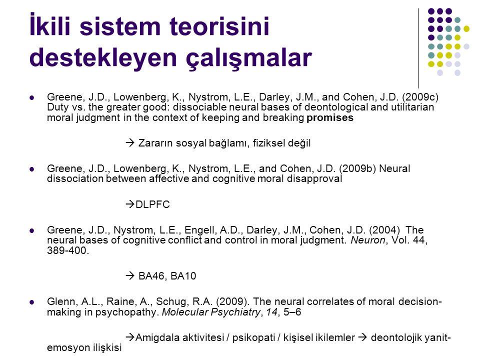 İkili sistem teorisini destekleyen çalışmalar Greene, J.D., Lowenberg, K., Nystrom, L.E., Darley, J.M., and Cohen, J.D. (2009c) Duty vs. the greater g