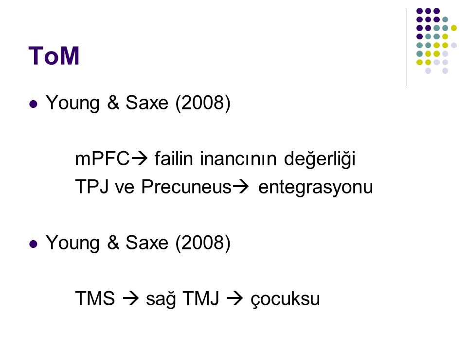 ToM Young & Saxe (2008) mPFC  failin inancının değerliği TPJ ve Precuneus  entegrasyonu Young & Saxe (2008) TMS  sağ TMJ  çocuksu