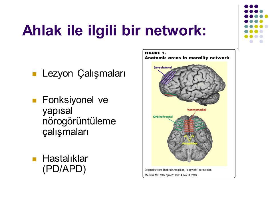 Nörobilim Çalışmaları: VMPFC : sosyal olayları, ahlaki ve duygusal değerlerle ilişkilendirir, sonuçları değerlendirir; ToM faaliyetleri, empati, niyetlere ilişkin yargılamalar OFC/VL : sosyal açıdan caydırıcı tepkileri, sonuca göre tepkiyi düzenler, otomatik tepkileri inhibe eder.