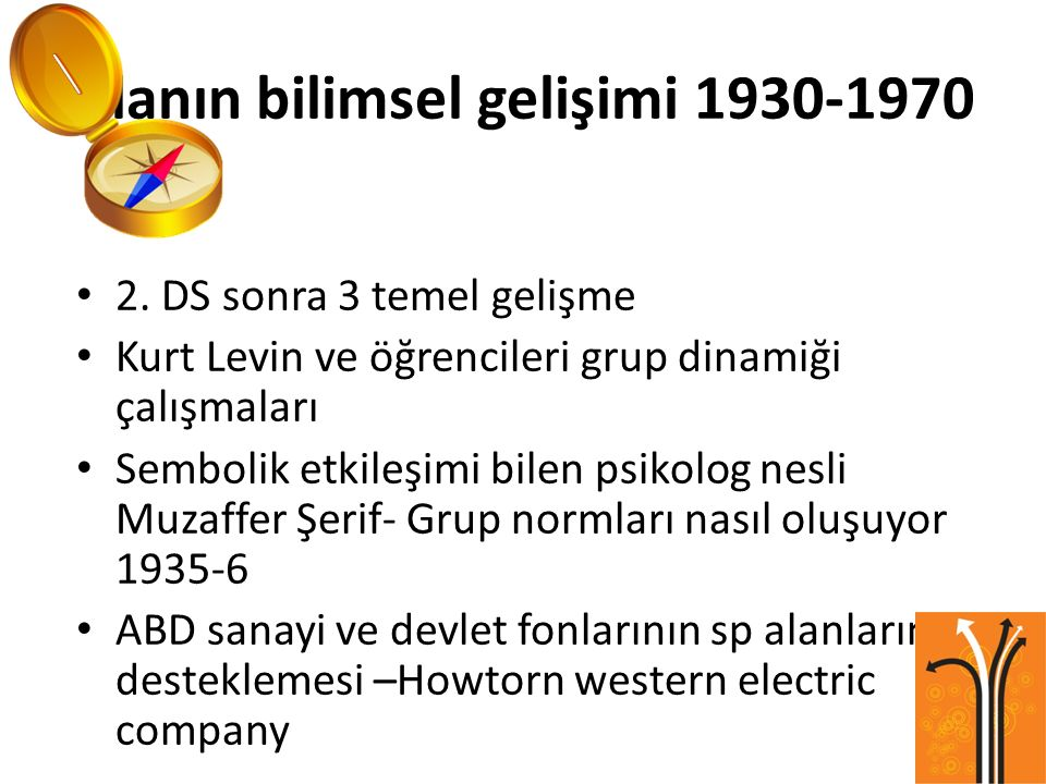 Alanın bilimsel gelişimi 1930-1970 2. DS sonra 3 temel gelişme Kurt Levin ve öğrencileri grup dinamiği çalışmaları Sembolik etkileşimi bilen psikolog