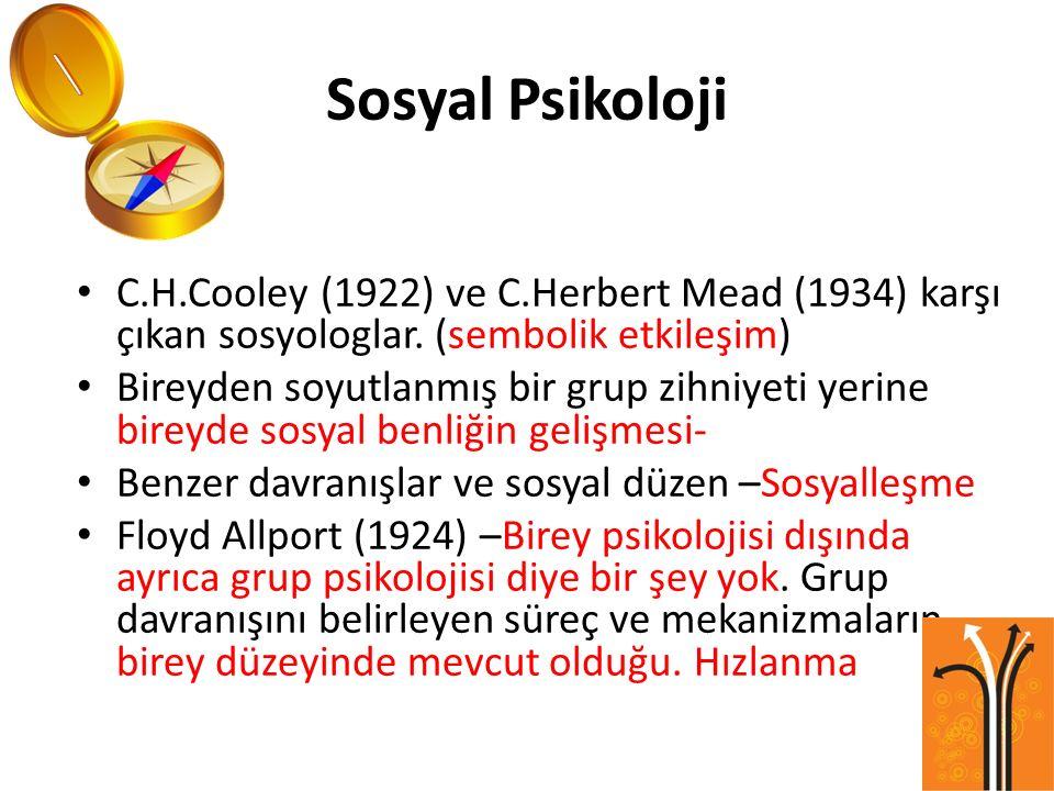 Sosyal Psikoloji C.H.Cooley (1922) ve C.Herbert Mead (1934) karşı çıkan sosyologlar. (sembolik etkileşim) Bireyden soyutlanmış bir grup zihniyeti yeri