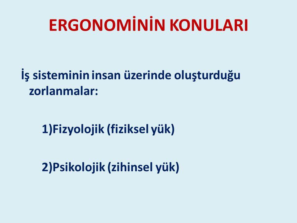 İş sisteminin insan üzerinde oluşturduğu zorlanmalar: 1)Fizyolojik (fiziksel yük) 2)Psikolojik (zihinsel yük)