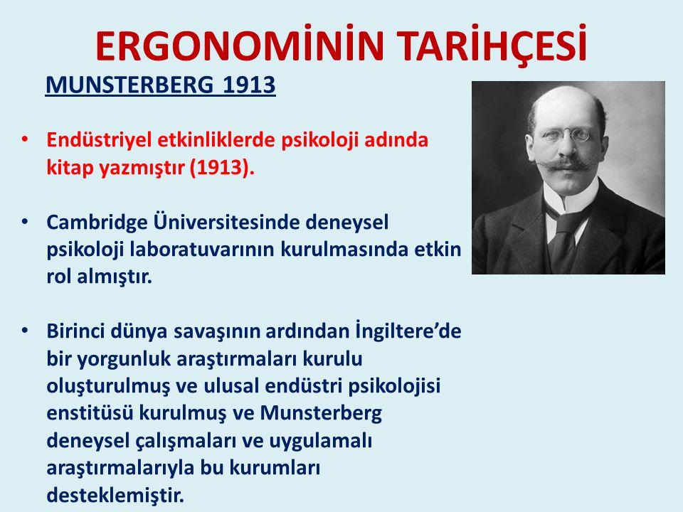 ERGONOMİNİN TARİHÇESİ Endüstriyel etkinliklerde psikoloji adında kitap yazmıştır (1913). Cambridge Üniversitesinde deneysel psikoloji laboratuvarının