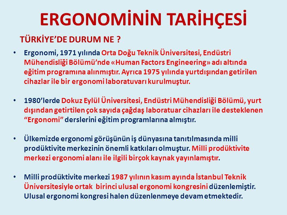 ERGONOMİNİN TARİHÇESİ TÜRKİYE'DE DURUM NE ? Ergonomi, 1971 yılında Orta Doğu Teknik Üniversitesi, Endüstri Mühendisliği Bölümü'nde «Human Factors Engi