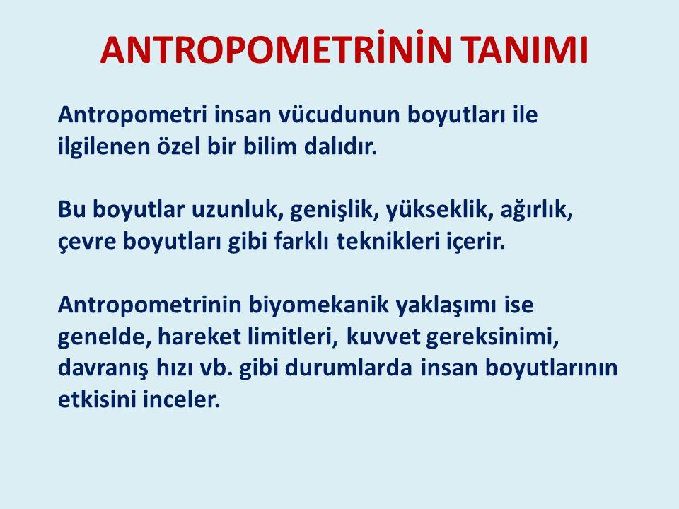 ANTROPOMETRİNİN TANIMI Antropometri insan vücudunun boyutları ile ilgilenen özel bir bilim dalıdır. Bu boyutlar uzunluk, genişlik, yükseklik, ağırlık,