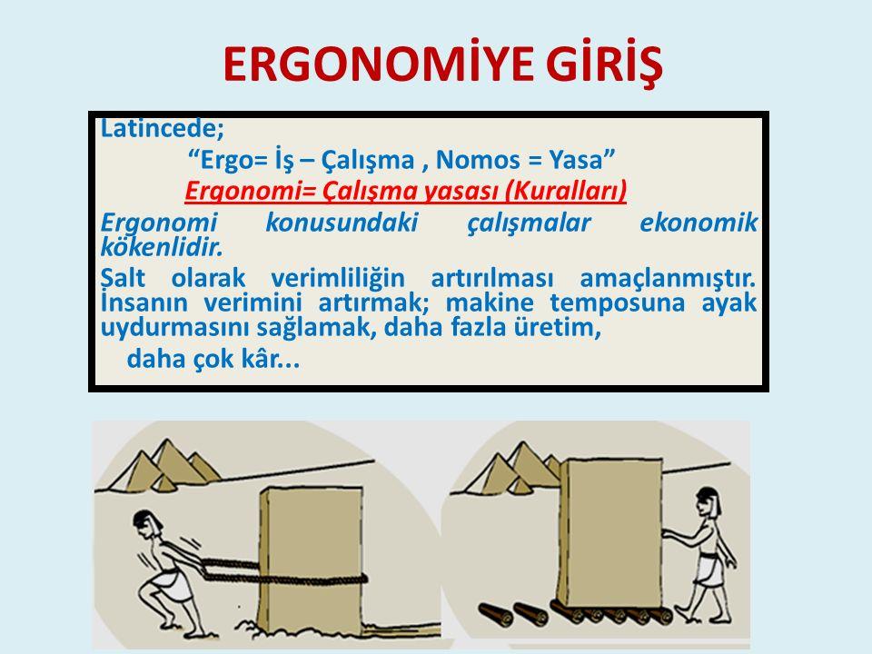 """ERGONOMİYE GİRİŞ Latincede; """"Ergo= İş – Çalışma, Nomos = Yasa"""" Ergonomi= Çalışma yasası (Kuralları) Ergonomi konusundaki çalışmalar ekonomik kökenlidi"""
