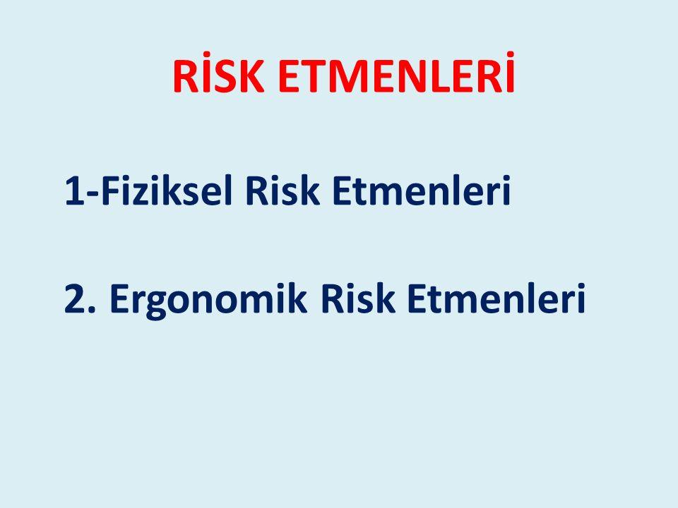 RİSK ETMENLERİ 1-Fiziksel Risk Etmenleri 2. Ergonomik Risk Etmenleri