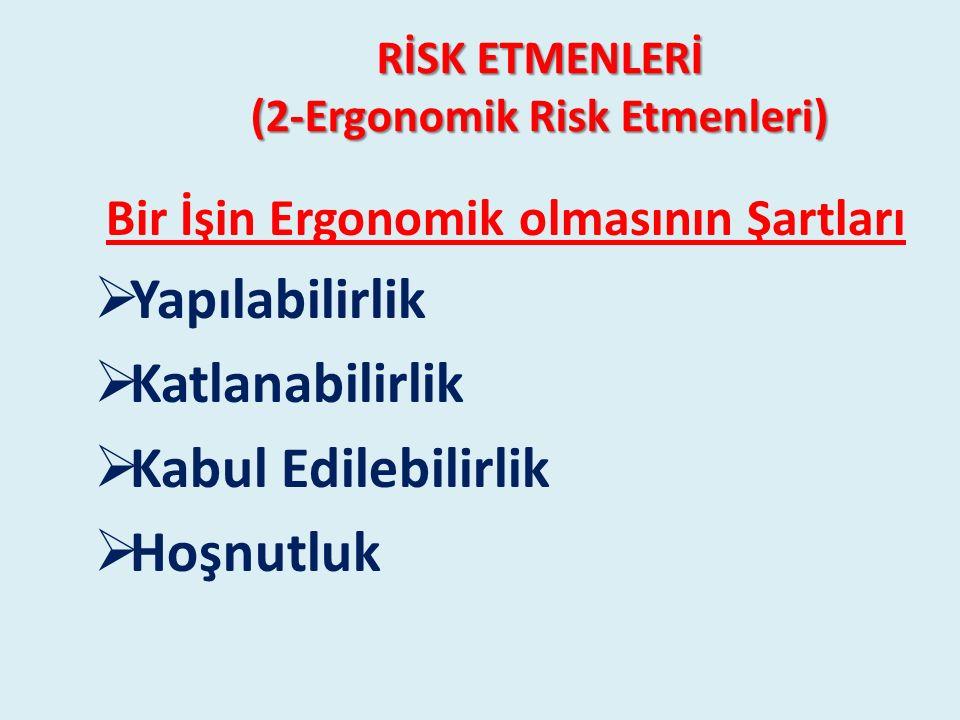 RİSK ETMENLERİ (2-Ergonomik Risk Etmenleri) Bir İşin Ergonomik olmasının Şartları  Yapılabilirlik  Katlanabilirlik  Kabul Edilebilirlik  Hoşnutluk