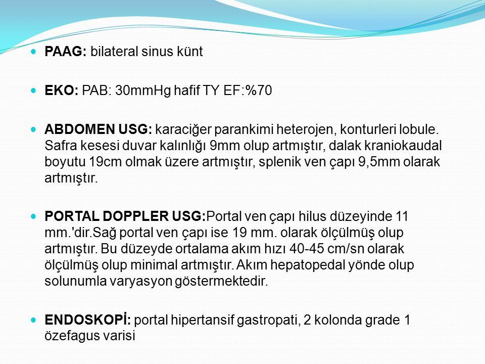 PAAG: bilateral sinus künt EKO: PAB: 30mmHg hafif TY EF:%70 ABDOMEN USG: karaciğer parankimi heterojen, konturleri lobule. Safra kesesi duvar kalınlığ