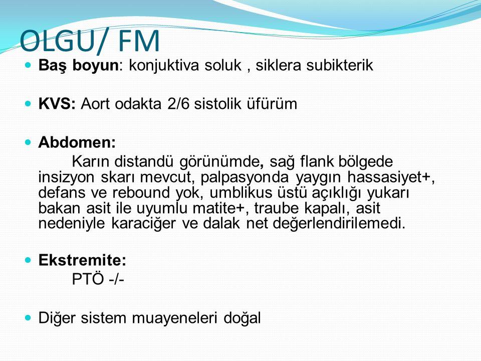OLGU/ FM Baş boyun: konjuktiva soluk, siklera subikterik KVS: Aort odakta 2/6 sistolik üfürüm Abdomen: Karın distandü görünümde, sağ flank bölgede ins