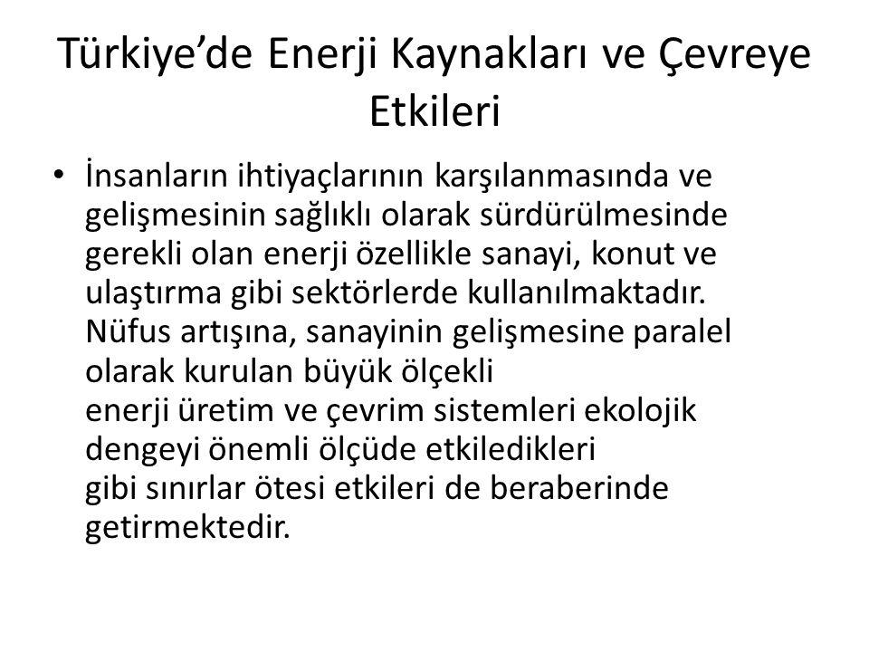 Türkiye'de Enerji Kaynakları ve Çevreye Etkileri İnsanların ihtiyaçlarının karşılanmasında ve gelişmesinin sağlıklı olarak sürdürülmesinde gerekli ola