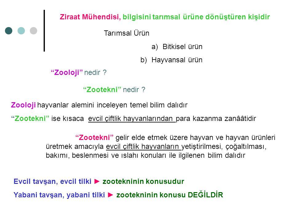 """Ziraat Mühendisi, bilgisini tarımsal ürüne dönüştüren kişidir Tarımsal Ürün a)Bitkisel ürün b)Hayvansal ürün """"Zooloji"""" nedir ? """"Zootekni"""" nedir ? Zool"""