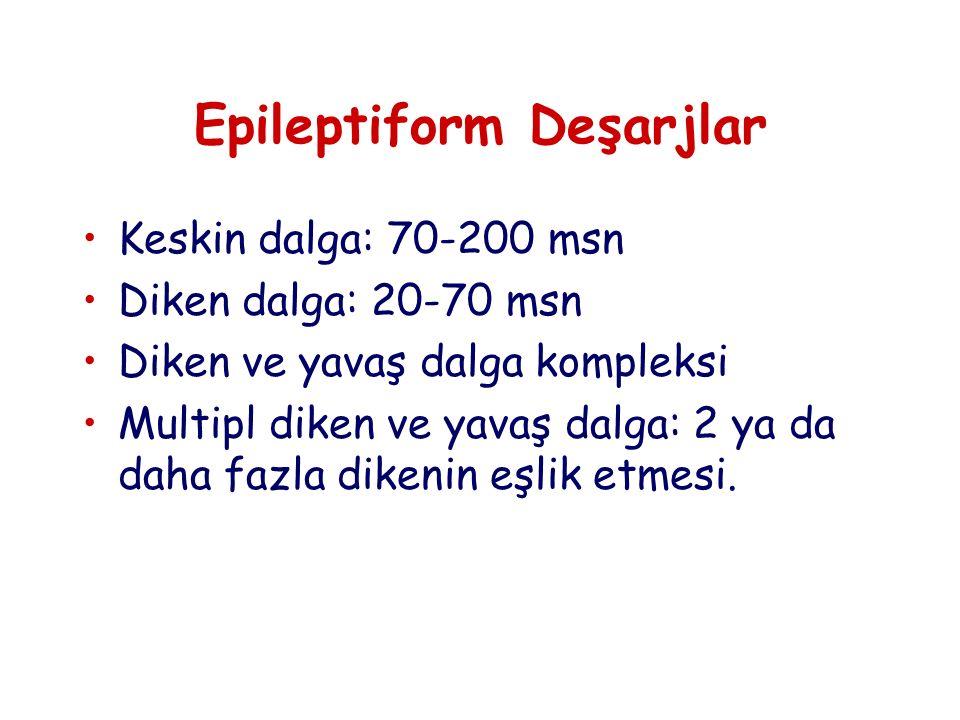 Epileptiform Deşarjlar Keskin dalga: 70-200 msn Diken dalga: 20-70 msn Diken ve yavaş dalga kompleksi Multipl diken ve yavaş dalga: 2 ya da daha fazla dikenin eşlik etmesi.