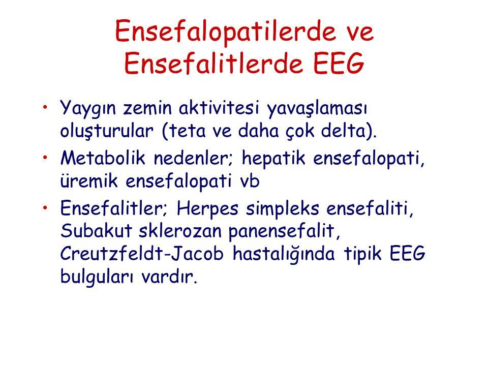 Ensefalopatilerde ve Ensefalitlerde EEG Yaygın zemin aktivitesi yavaşlaması oluşturular (teta ve daha çok delta).
