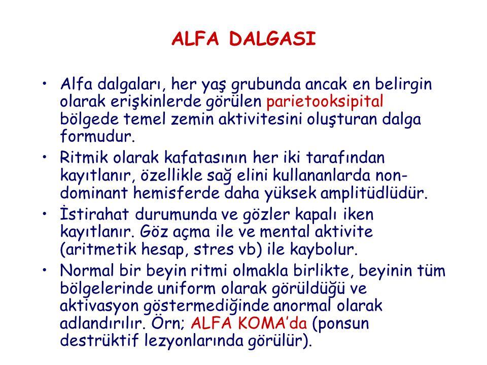 ALFA DALGASI Alfa dalgaları, her yaş grubunda ancak en belirgin olarak erişkinlerde görülen parietooksipital bölgede temel zemin aktivitesini oluşturan dalga formudur.