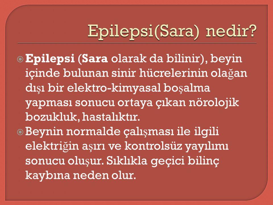  Epilepsi (Sara olarak da bilinir), beyin içinde bulunan sinir hücrelerinin ola ğ an dı ş ı bir elektro-kimyasal bo ş alma yapması sonucu ortaya çıkan nörolojik bozukluk, hastalıktır.