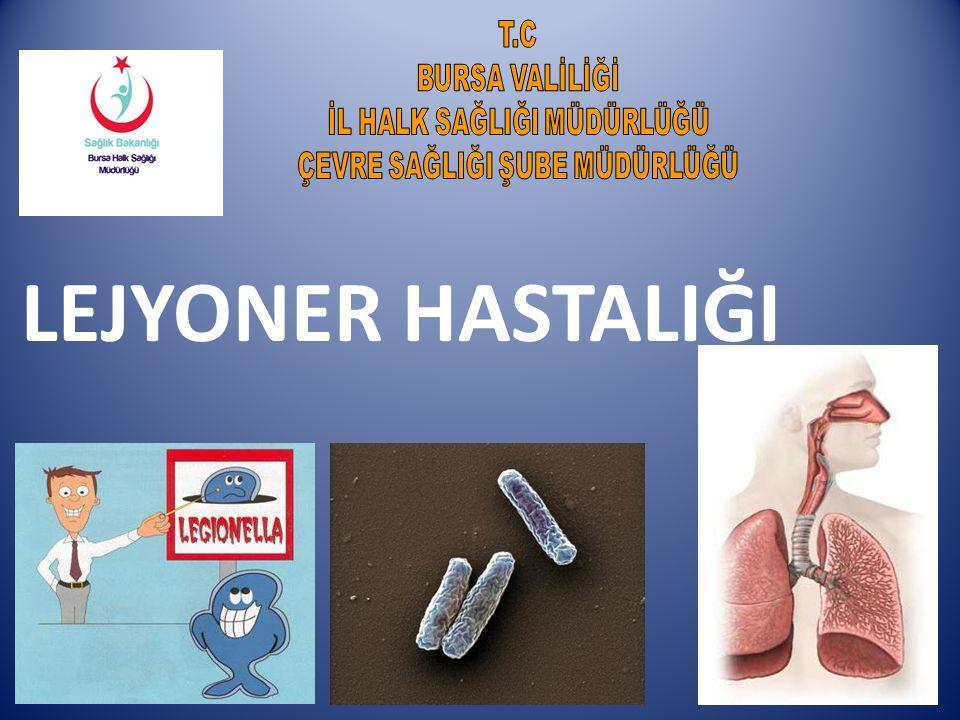 LEJYONELLA Lejyoner hastalığı Legionella pneumophila olarak adlandırılan bakterinin neden olduğu bir akciğer enfeksiyonudur.