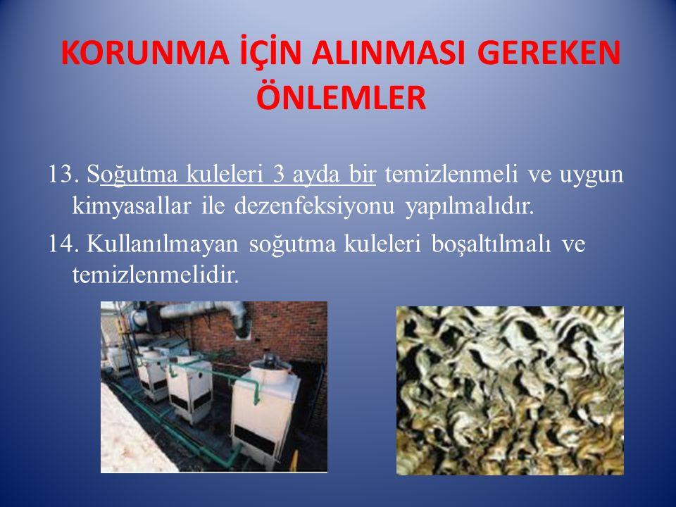 KORUNMA İÇİN ALINMASI GEREKEN ÖNLEMLER 13. Soğutma kuleleri 3 ayda bir temizlenmeli ve uygun kimyasallar ile dezenfeksiyonu yapılmalıdır. 14. Kullanıl