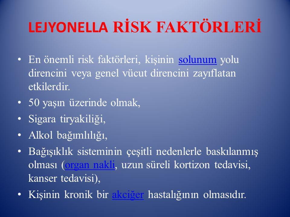 LEJYONELLA RİSK FAKTÖRLERİ En önemli risk faktörleri, kişinin solunum yolu direncini veya genel vücut direncini zayıflatan etkilerdir.solunum 50 yaşın