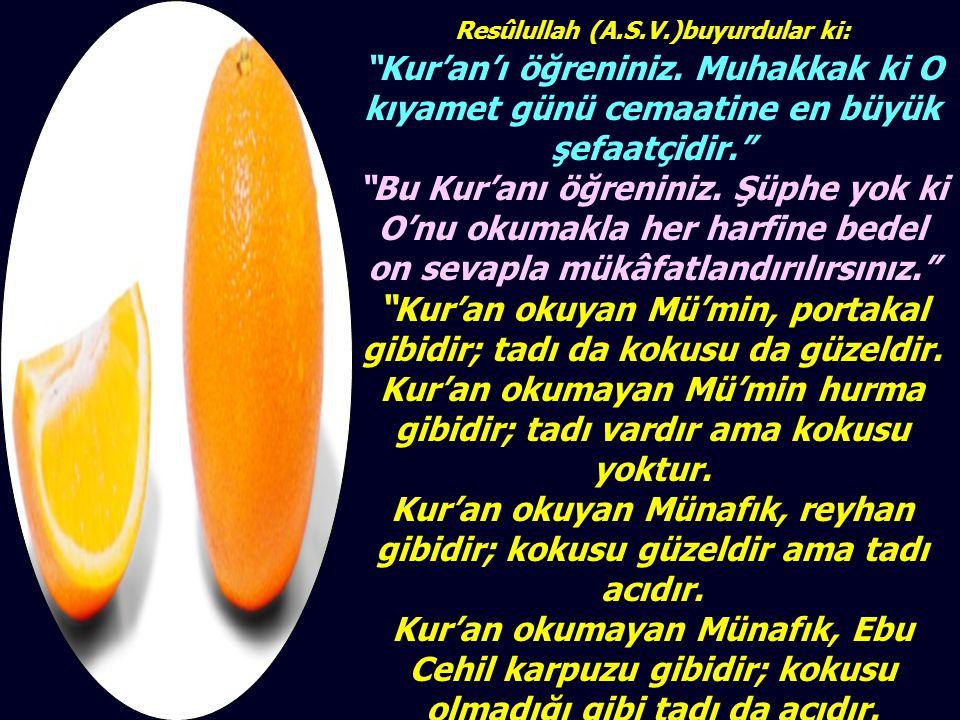 Resûlullah (A.S.V.)buyurdular ki: Kur'an'ı öğreniniz.