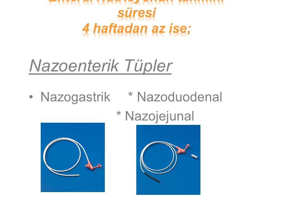 Nazoenterik Tüpler Nazogastrik * Nazoduodenal * Nazojejunal