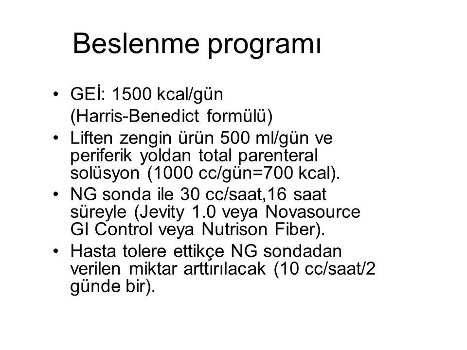Beslenme programı GEİ: 1500 kcal/gün (Harris-Benedict formülü) Liften zengin ürün 500 ml/gün ve periferik yoldan total parenteral solüsyon (1000 cc/gün=700 kcal).
