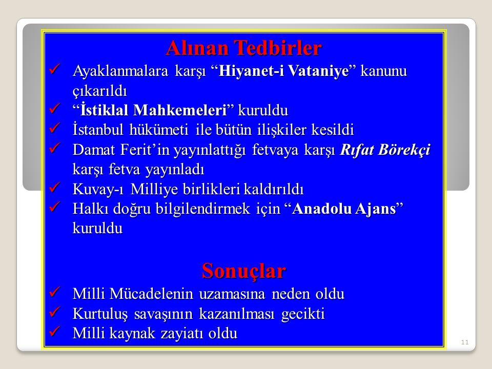 11 Alınan Tedbirler Ayaklanmalara karşı Hiyanet-i Vataniye kanunu çıkarıldı Ayaklanmalara karşı Hiyanet-i Vataniye kanunu çıkarıldı İstiklal Mahkemeleri kuruldu İstiklal Mahkemeleri kuruldu İstanbul hükümeti ile bütün ilişkiler kesildi İstanbul hükümeti ile bütün ilişkiler kesildi Damat Ferit'in yayınlattığı fetvaya karşı Rıfat Börekçi karşı fetva yayınladı Damat Ferit'in yayınlattığı fetvaya karşı Rıfat Börekçi karşı fetva yayınladı Kuvay-ı Milliye birlikleri kaldırıldı Kuvay-ı Milliye birlikleri kaldırıldı Halkı doğru bilgilendirmek için Anadolu Ajans kuruldu Halkı doğru bilgilendirmek için Anadolu Ajans kurulduSonuçlar Milli Mücadelenin uzamasına neden oldu Milli Mücadelenin uzamasına neden oldu Kurtuluş savaşının kazanılması gecikti Kurtuluş savaşının kazanılması gecikti Milli kaynak zayiatı oldu Milli kaynak zayiatı oldu