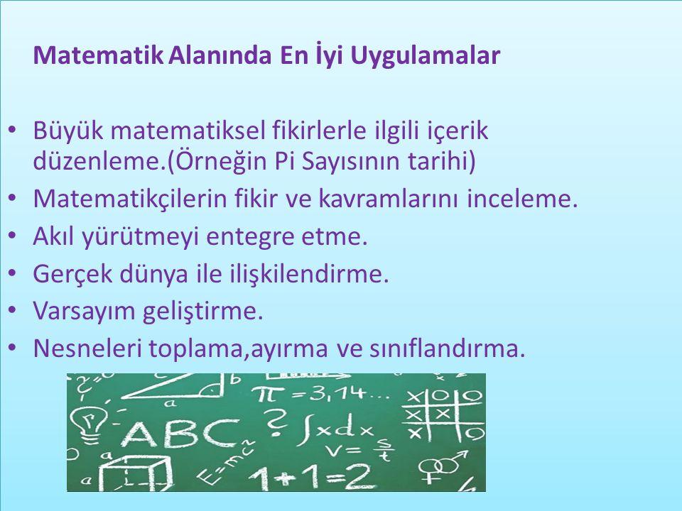 Matematik Alanında En İyi Uygulamalar Büyük matematiksel fikirlerle ilgili içerik düzenleme.(Örneğin Pi Sayısının tarihi) Matematikçilerin fikir ve ka