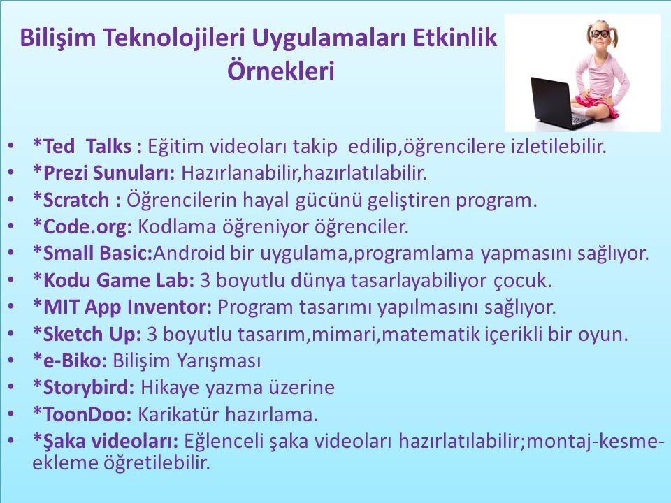 Bilişim Teknolojileri Uygulamaları Etkinlik Örnekleri Bilişim Teknolojileri Uygulamaları Etkinlik Örnekleri *Ted Talks : Eğitim videoları takip edilip