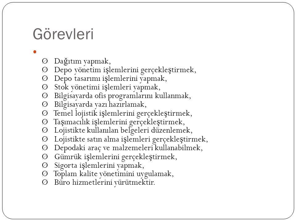 Görevleri Ø Da ğ ıtım yapmak, Ø Depo yönetim i ş lemlerini gerçekle ş tirmek, Ø Depo tasarımı i ş lemlerini yapmak, Ø Stok yönetimi i ş lemleri yapmak, Ø Bilgisayarda ofis programlarını kullanmak, Ø Bilgisayarda yazı hazırlamak, Ø Temel lojistik i ş lemlerini gerçekle ş tirmek, Ø Ta ş ımacılık i ş lemlerini gerçekle ş tirmek, Ø Lojistikte kullanılan belgeleri düzenlemek, Ø Lojistikte satın alma i ş lemleri gerçekle ş tirmek, Ø Depodaki araç ve malzemeleri kullanabilmek, Ø Gümrük i ş lemlerini gerçekle ş tirmek, Ø Sigorta i ş lemlerini yapmak, Ø Toplam kalite yönetimini uygulamak, Ø Büro hizmetlerini yürütmektir.