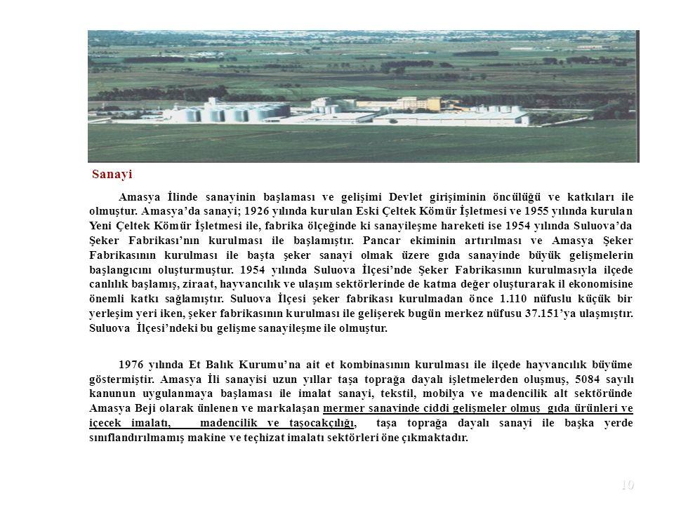 10 Sanayi Amasya İlinde sanayinin başlaması ve gelişimi Devlet girişiminin öncülüğü ve katkıları ile olmuştur. Amasya'da sanayi; 1926 yılında kurulan