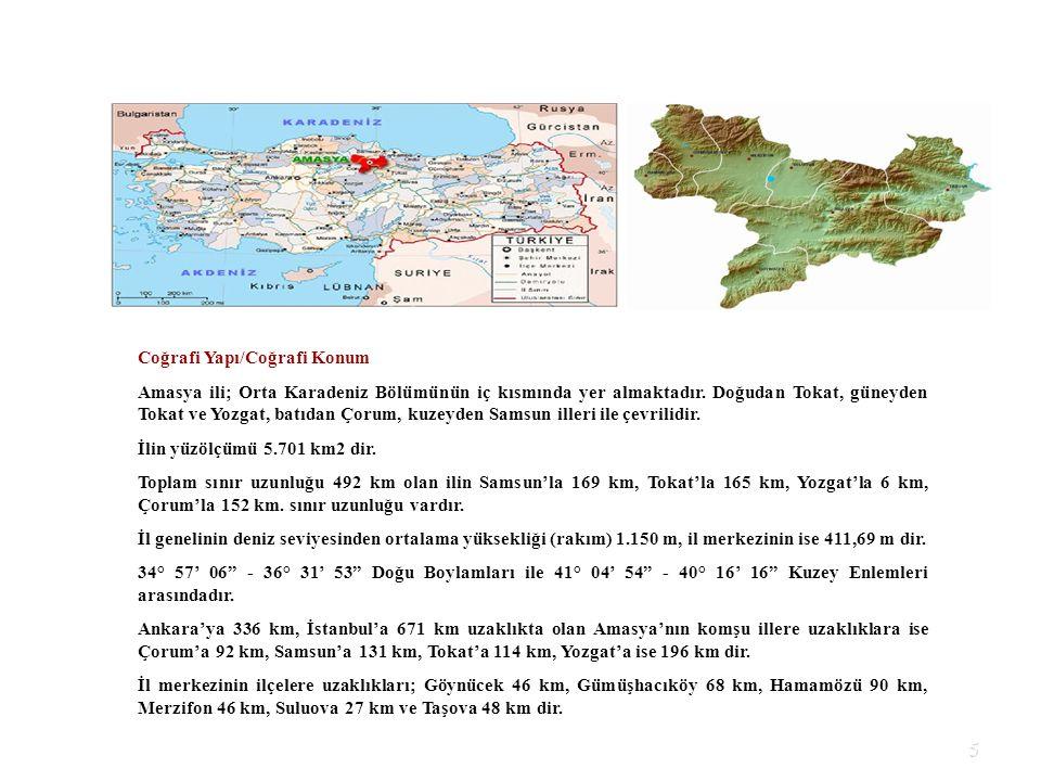 5 Coğrafi Yapı/Coğrafi Konum Amasya ili; Orta Karadeniz Bölümünün iç kısmında yer almaktadır. Doğudan Tokat, güneyden Tokat ve Yozgat, batıdan Çorum,