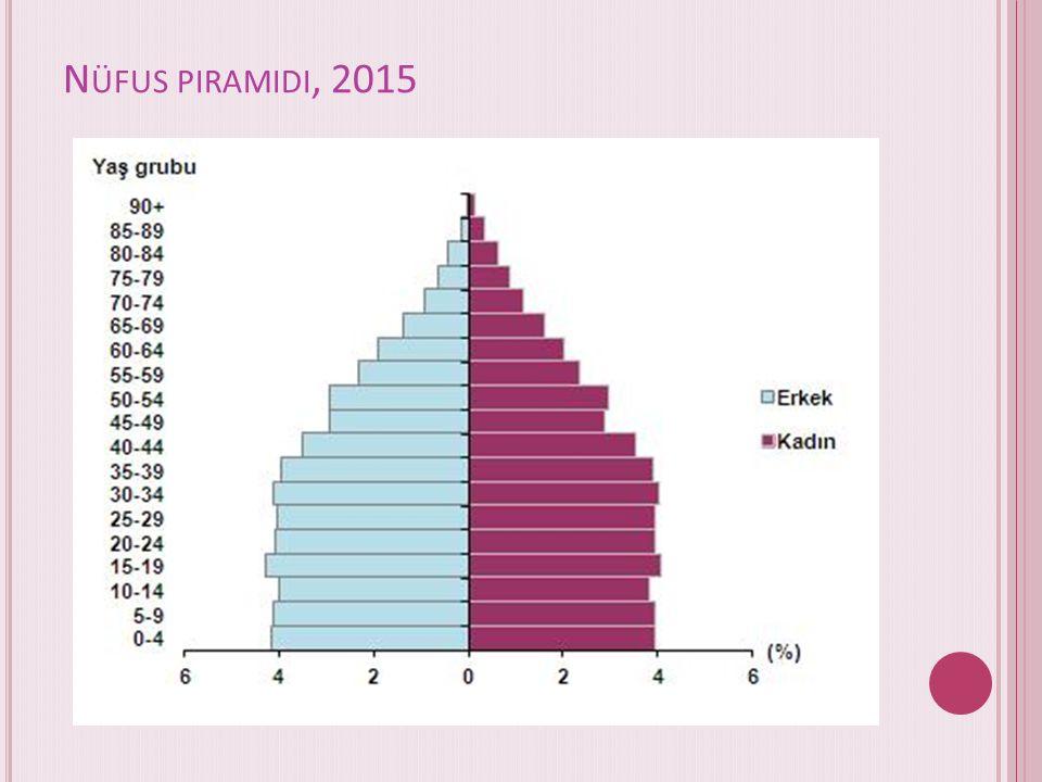 Ç ALıŞMA ÇAĞıNDAKI NÜFUSUN ORANı BIR ÖNCEKI YıLA GÖRE DEĞIŞMEDI Ülkemizde 15-64 yaş grubunda bulunan (çalışma çağındaki) nüfusun oranı 2015 yılında, bir önceki yılda olduğu gibi %67,8 (53 milyon 359 bin 594 kişi) olarak gerçekleşti.