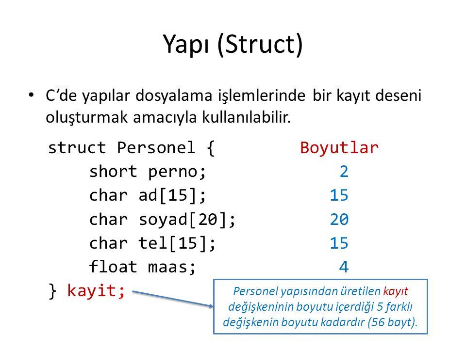 Yapı (Struct) C'de yapılar dosyalama işlemlerinde bir kayıt deseni oluşturmak amacıyla kullanılabilir. struct Personel { short perno; char ad[15]; cha