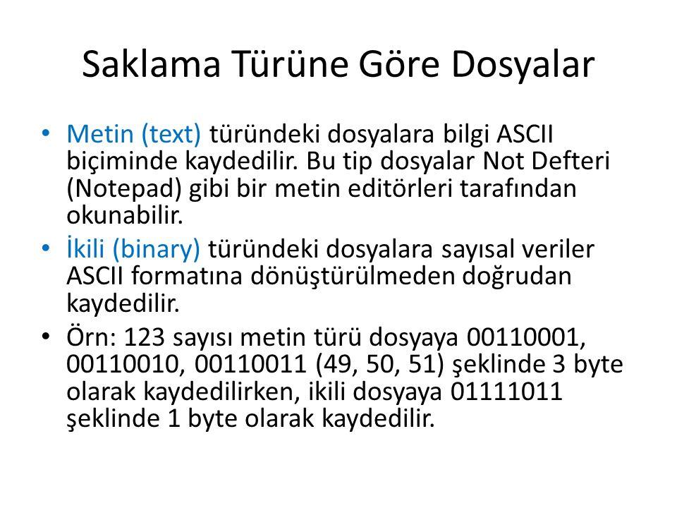 Saklama Türüne Göre Dosyalar Metin (text) türündeki dosyalara bilgi ASCII biçiminde kaydedilir. Bu tip dosyalar Not Defteri (Notepad) gibi bir metin e
