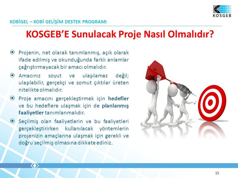  Projenin, net olarak tanımlanmış, açık olarak ifade edilmiş ve okunduğunda farklı anlamlar çağrıştırmayacak bir amacı olmalıdır.