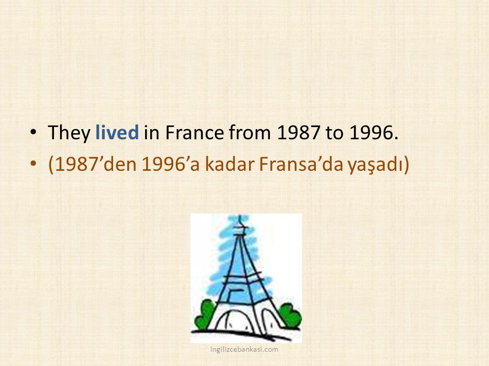 They lived in France from 1987 to 1996.