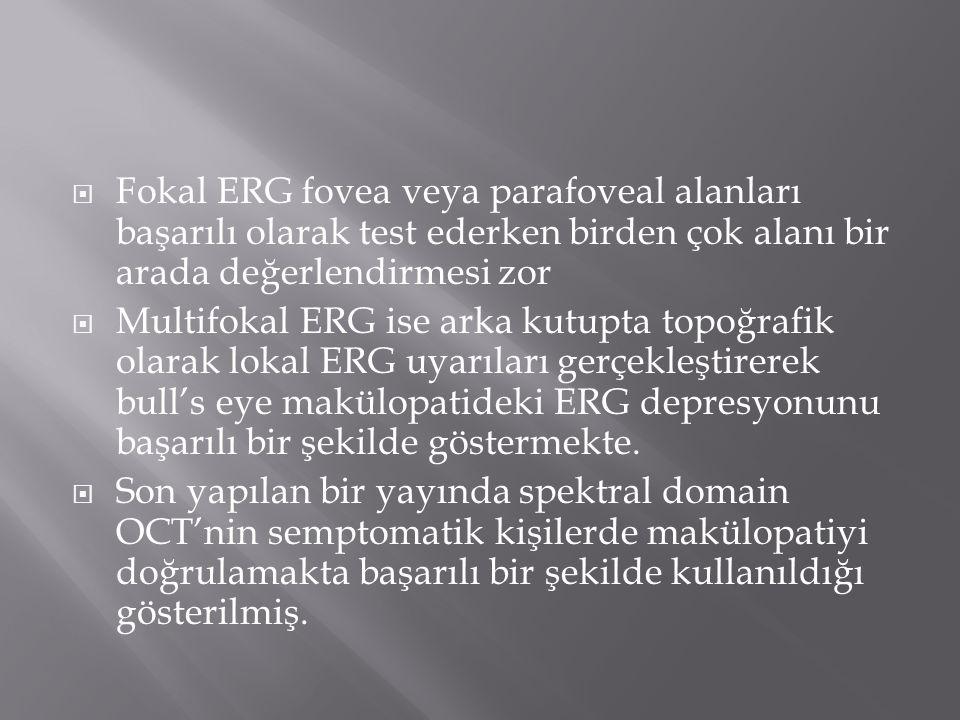  Fokal ERG fovea veya parafoveal alanları başarılı olarak test ederken birden çok alanı bir arada değerlendirmesi zor  Multifokal ERG ise arka kutup
