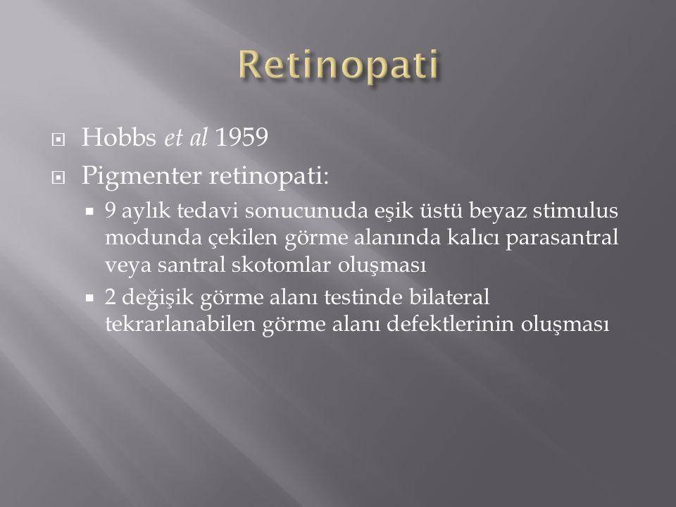  Hobbs et al 1959  Pigmenter retinopati:  9 aylık tedavi sonucunuda eşik üstü beyaz stimulus modunda çekilen görme alanında kalıcı parasantral veya