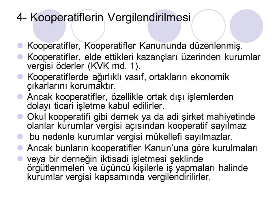 4- Kooperatiflerin Vergilendirilmesi Kooperatifler, Kooperatifler Kanununda düzenlenmiş.