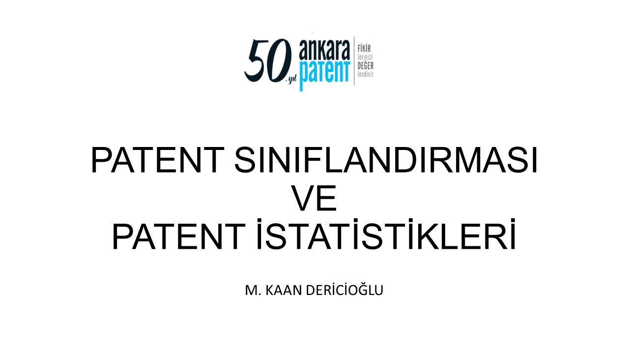 M. Kaan DERİCİOĞLU12 http://www.tpe.gov.tr/TurkPatentEnstitusu/statistics/
