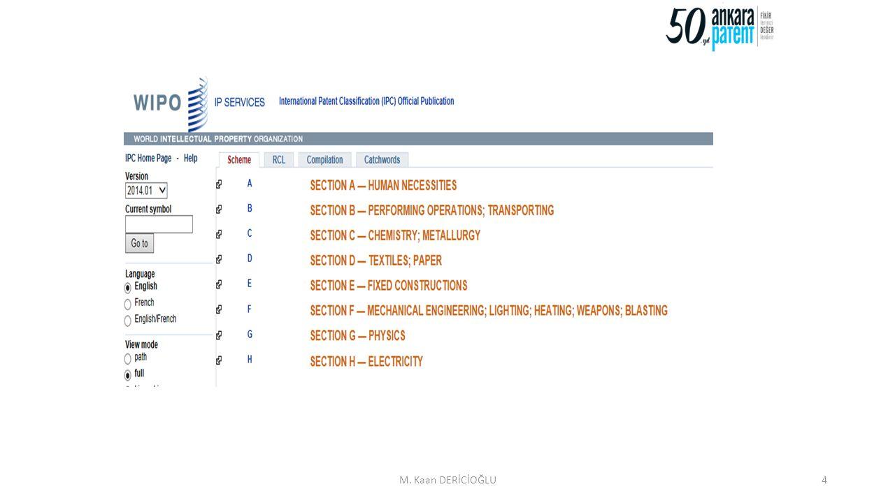 5 IPC, Uluslararası Patent Sınıflandırması tüm teknoloji alanını 8 bölüme ayırır.