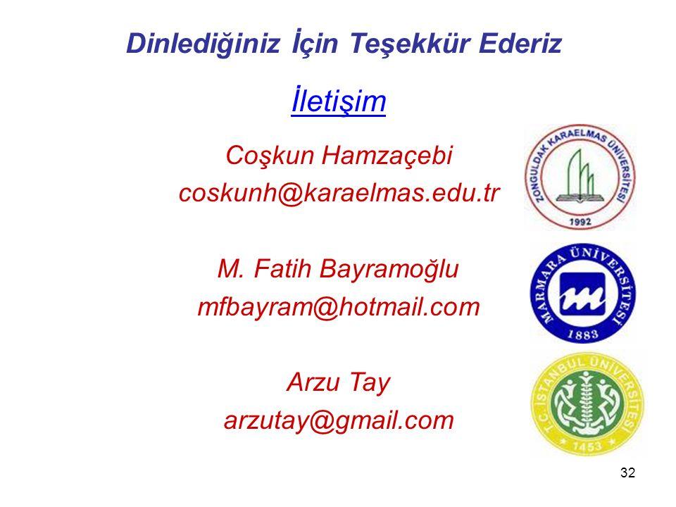 32 Dinlediğiniz İçin Teşekkür Ederiz İletişim Coşkun Hamzaçebi coskunh@karaelmas.edu.tr M. Fatih Bayramoğlu mfbayram@hotmail.com Arzu Tay arzutay@gmai