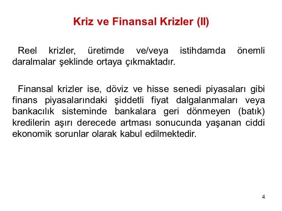 5 Türkiye ve Finansal Krizler Türkiye ekonomisi, finansal kaynaklı krizleri finansal piyasaların serbestleştirmeye başladığı 1980'li yıllardan sonra yaşamıştır.