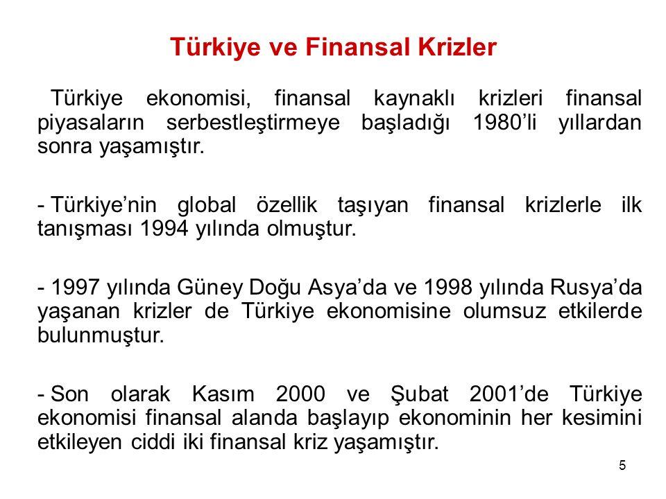 5 Türkiye ve Finansal Krizler Türkiye ekonomisi, finansal kaynaklı krizleri finansal piyasaların serbestleştirmeye başladığı 1980'li yıllardan sonra y