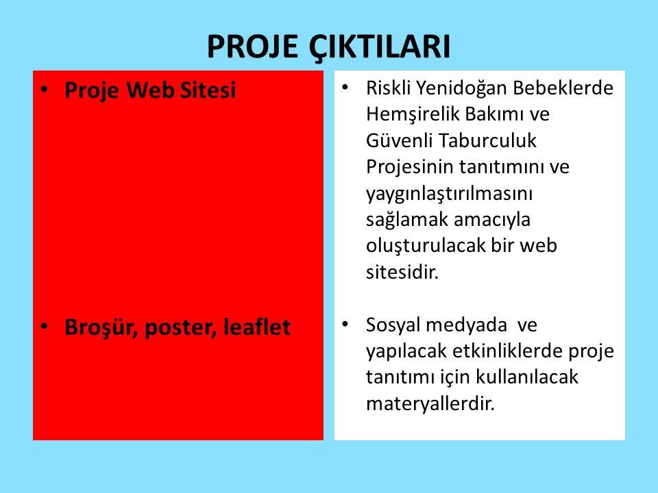 PROJE ÇIKTILARI Proje Web Sitesi Broşür, poster, leaflet Riskli Yenidoğan Bebeklerde Hemşirelik Bakımı ve Güvenli Taburculuk Projesinin tanıtımını ve yaygınlaştırılmasını sağlamak amacıyla oluşturulacak bir web sitesidir.