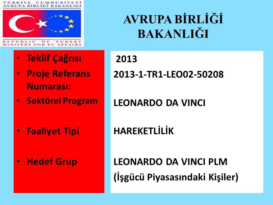 AVRUPA BİRLİĞİ BAKANLIĞI Teklif Çağrısı Proje Referans Numarası: Sektörel Program Faaliyet Tipi Hedef Grup 2013 2013-1-TR1-LEO02-50208 LEONARDO DA VINCI HAREKETLİLİK LEONARDO DA VINCI PLM (İşgücü Piyasasındaki Kişiler)
