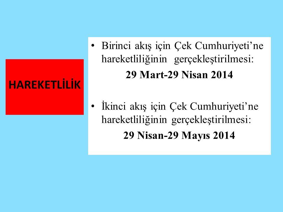HAREKETLİLİK Birinci akış için Çek Cumhuriyeti'ne hareketliliğinin gerçekleştirilmesi: 29 Mart-29 Nisan 2014 İkinci akış için Çek Cumhuriyeti'ne harek