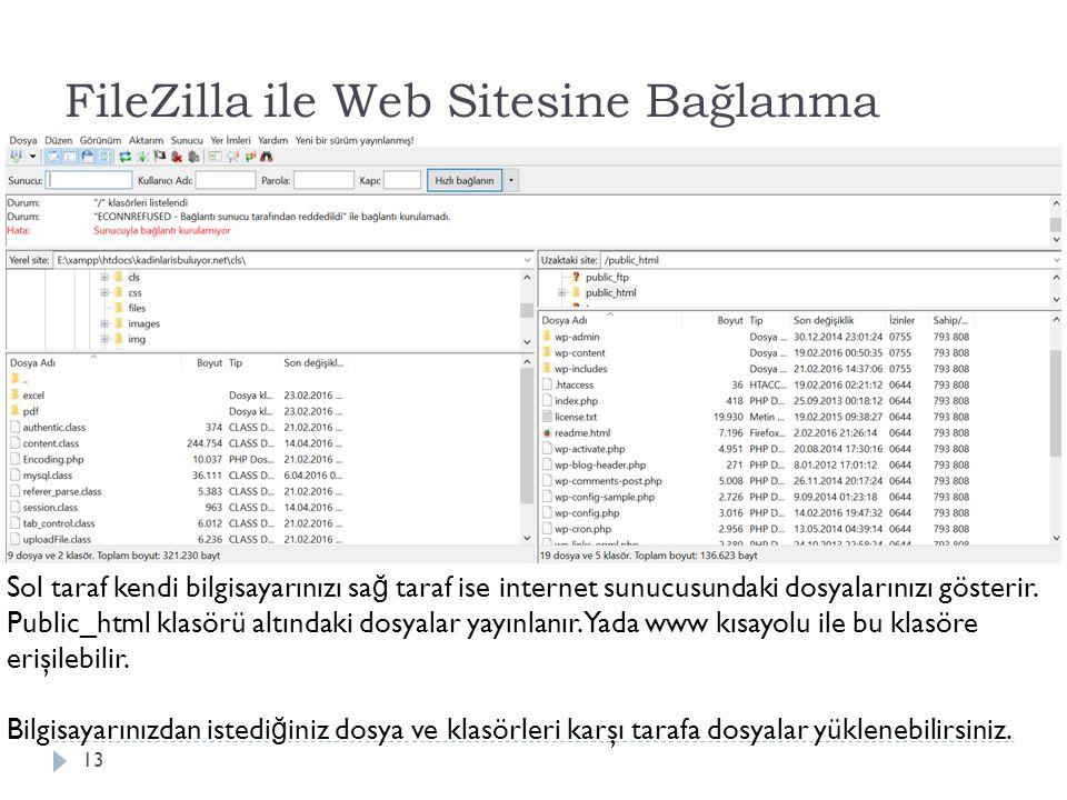FileZilla ile Web Sitesine Bağlanma 13 Sol taraf kendi bilgisayarınızı sa ğ taraf ise internet sunucusundaki dosyalarınızı gösterir. Public_html klasö