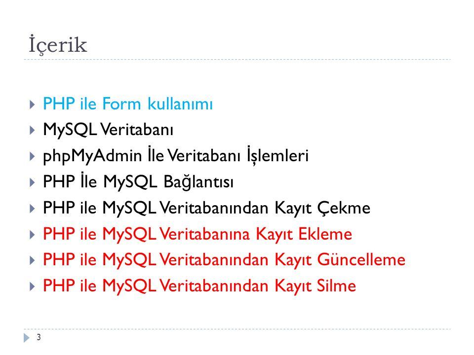 İçerik  PHP ile Form kullanımı  MySQL Veritabanı  phpMyAdmin İ le Veritabanı İ şlemleri  PHP İ le MySQL Ba ğ lantısı  PHP ile MySQL Veritabanından Kayıt Çekme  PHP ile MySQL Veritabanına Kayıt Ekleme  PHP ile MySQL Veritabanından Kayıt Güncelleme  PHP ile MySQL Veritabanından Kayıt Silme 3